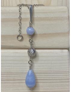 JUSTIN JEWELS Création artisanale Collier argent cristal de roche et onyx