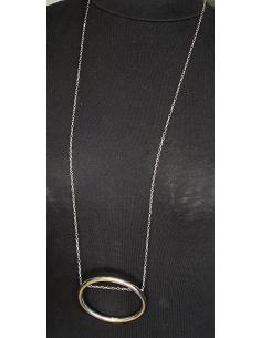 JUUSTIN JEWELS Création artisanale Collier argent cristal de roche et onyx 9mm