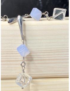 JUSTIN  JEWELS Création artisanale Boucle d'oreille onyx et cristal de roche