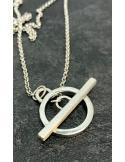 JUST'IN JEWELS Bracelet argent rhodié, cyanite et motif argent ovale